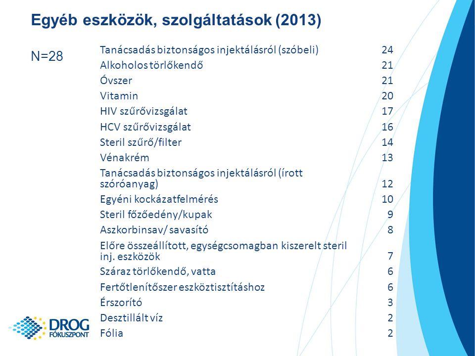 Egyéb eszközök, szolgáltatások (2013) N=28