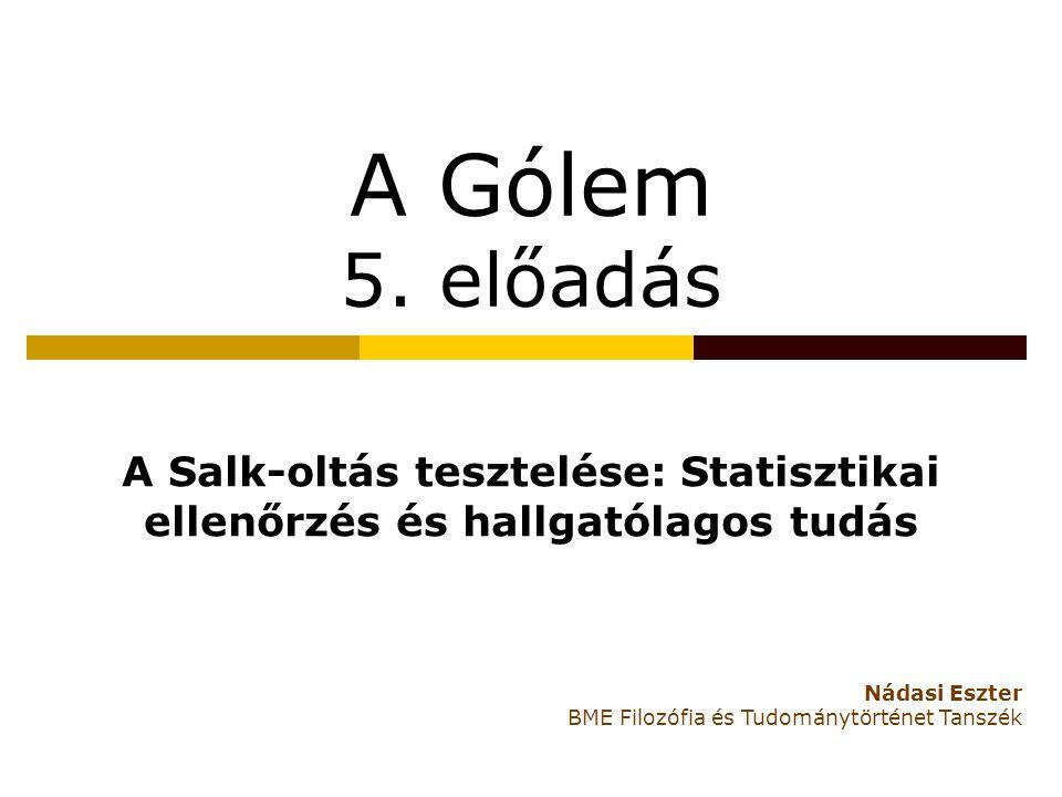 A Gólem 5. előadás A Salk-oltás tesztelése: Statisztikai ellenőrzés és hallgatólagos tudás. Nádasi Eszter.
