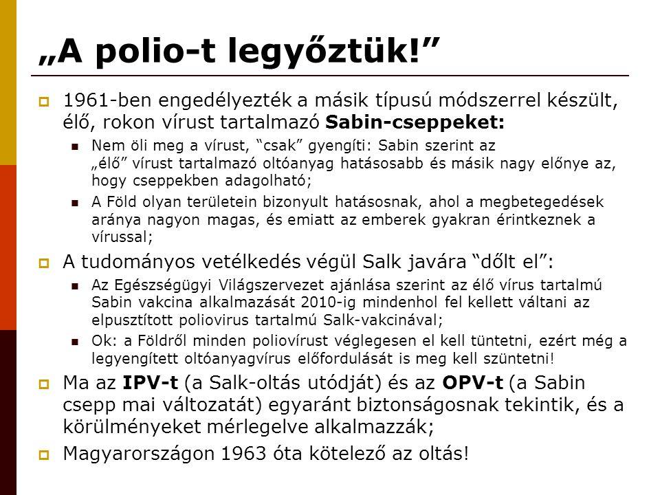 """""""A polio-t legyőztük! 1961-ben engedélyezték a másik típusú módszerrel készült, élő, rokon vírust tartalmazó Sabin-cseppeket:"""