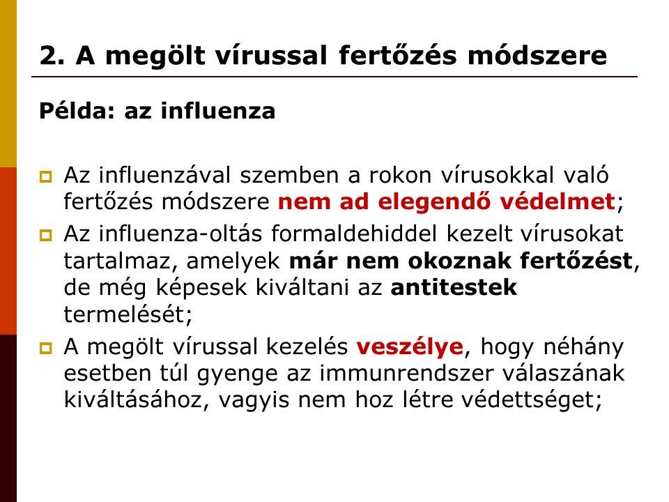 2. A megölt vírussal fertőzés módszere