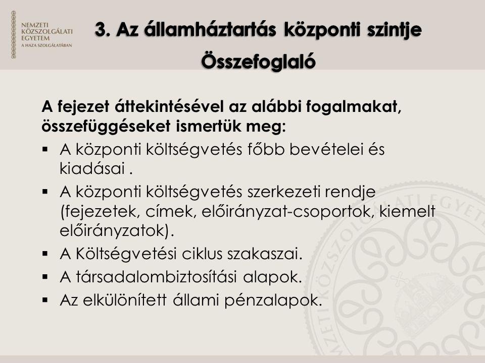 3. Az államháztartás központi szintje Összefoglaló