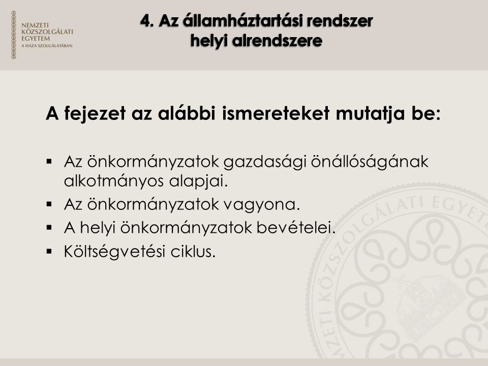 4. Az államháztartási rendszer helyi alrendszere