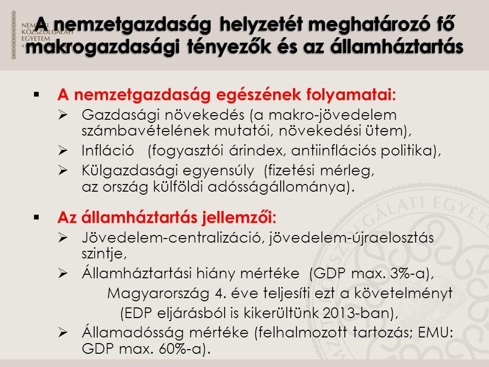 A nemzetgazdaság helyzetét meghatározó fő makrogazdasági tényezők és az államháztartás