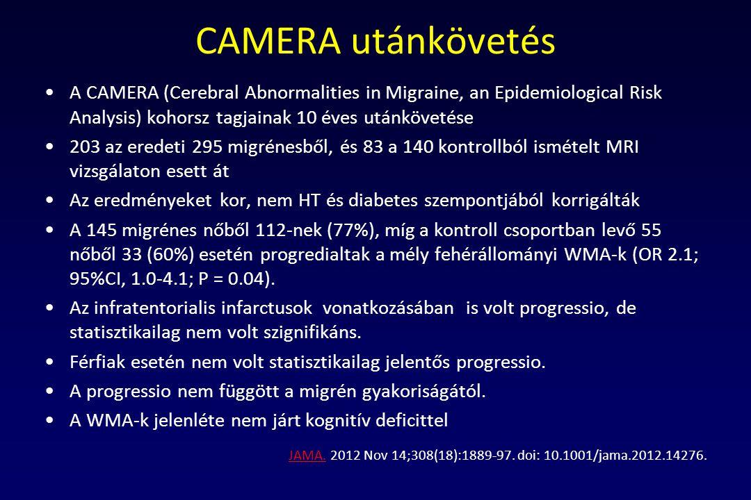 CAMERA utánkövetés A CAMERA (Cerebral Abnormalities in Migraine, an Epidemiological Risk Analysis) kohorsz tagjainak 10 éves utánkövetése.
