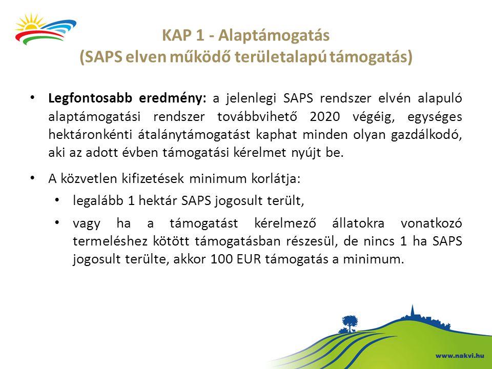 KAP 1 - Alaptámogatás (SAPS elven működő területalapú támogatás)