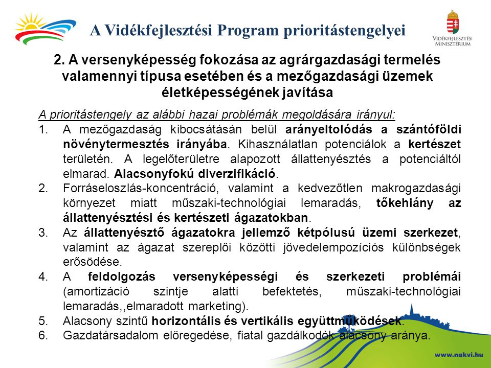 A Vidékfejlesztési Program prioritástengelyei