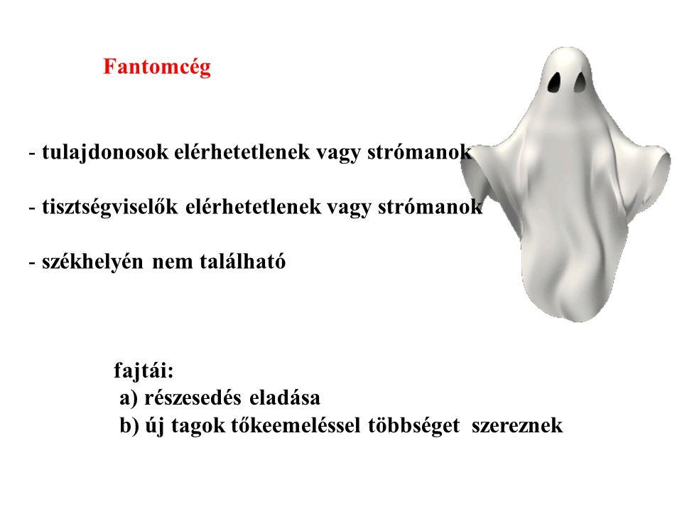 Fantomcég tulajdonosok elérhetetlenek vagy strómanok. tisztségviselők elérhetetlenek vagy strómanok.
