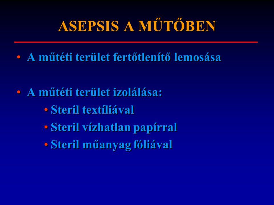 ASEPSIS A MŰTŐBEN A műtéti terület fertőtlenítő lemosása