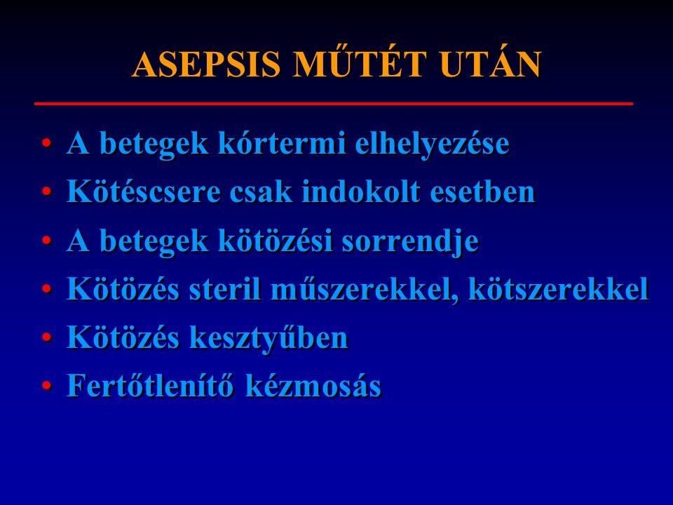 ASEPSIS MŰTÉT UTÁN A betegek kórtermi elhelyezése