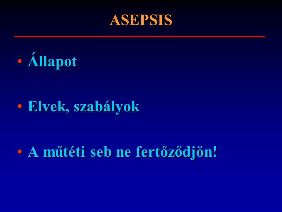 ASEPSIS Állapot Elvek, szabályok A műtéti seb ne fertőződjön!
