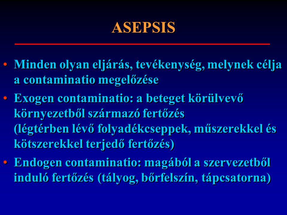 ASEPSIS Minden olyan eljárás, tevékenység, melynek célja a contaminatio megelőzése.