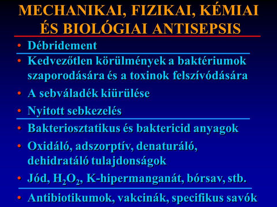 MECHANIKAI, FIZIKAI, KÉMIAI ÉS BIOLÓGIAI ANTISEPSIS