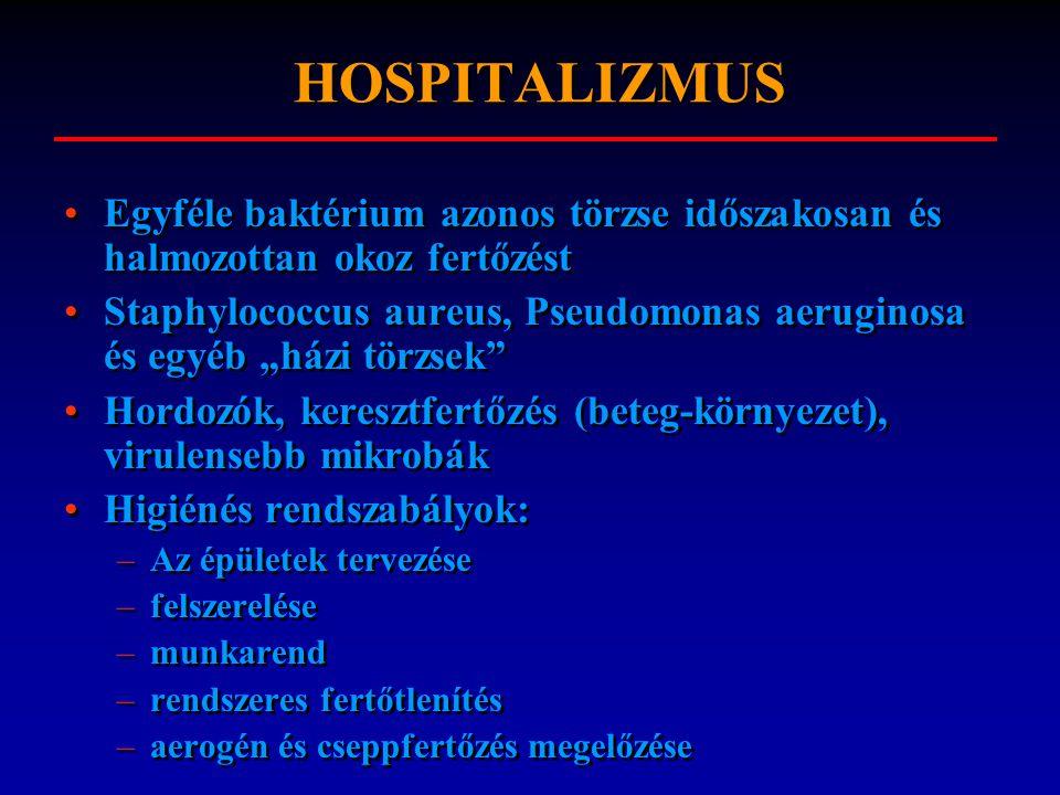 HOSPITALIZMUS Egyféle baktérium azonos törzse időszakosan és halmozottan okoz fertőzést.