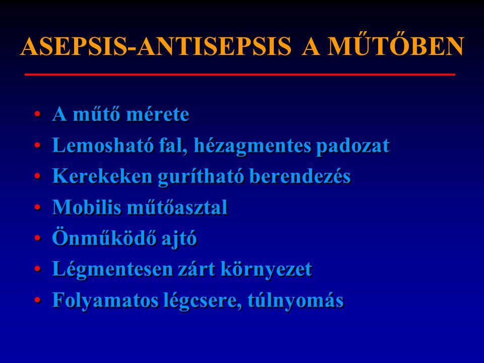 ASEPSIS-ANTISEPSIS A MŰTŐBEN