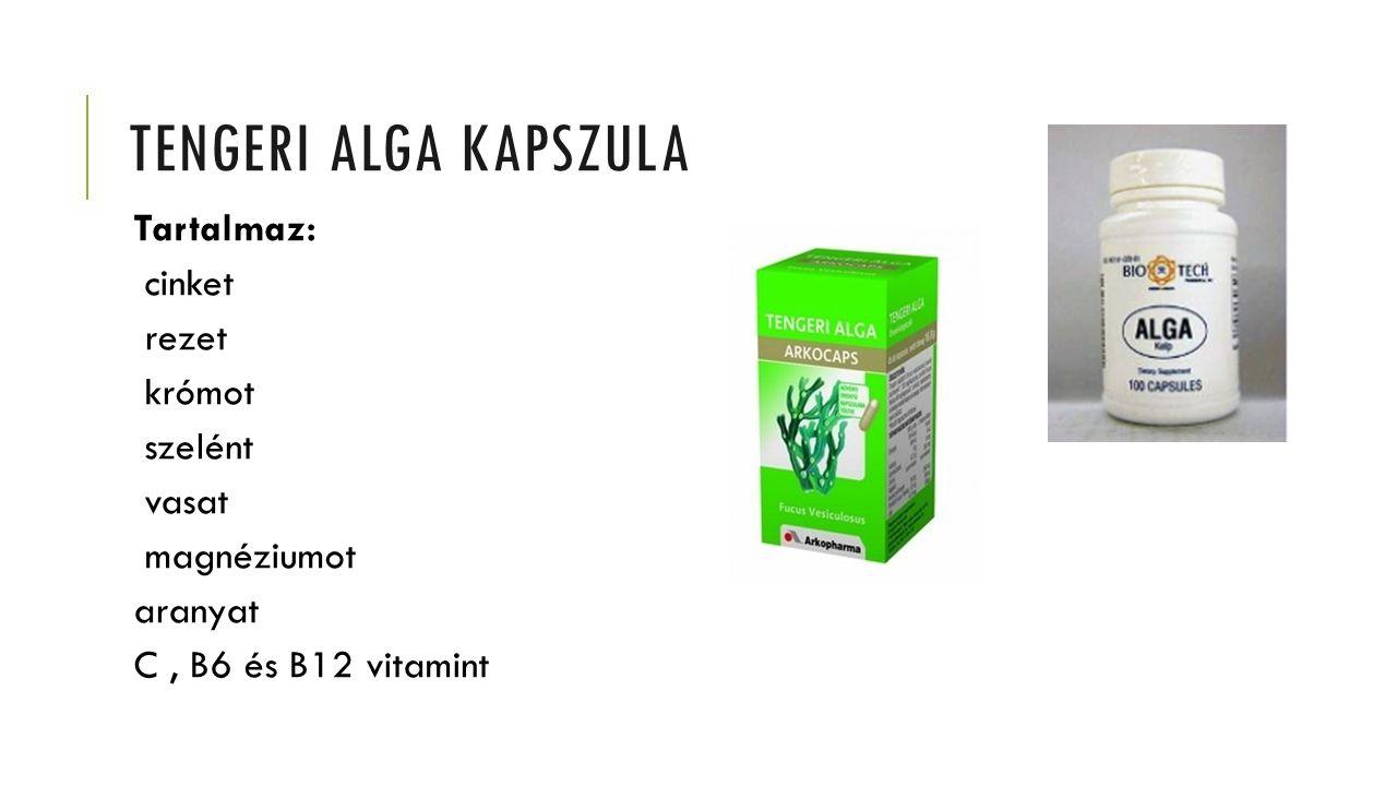 Tengeri alga kapszula Tartalmaz: cinket rezet krómot szelént vasat