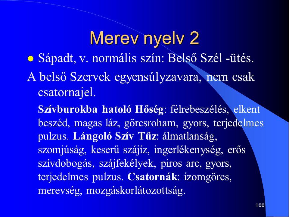 Merev nyelv 2 Sápadt, v. normális szín: Belső Szél -ütés.