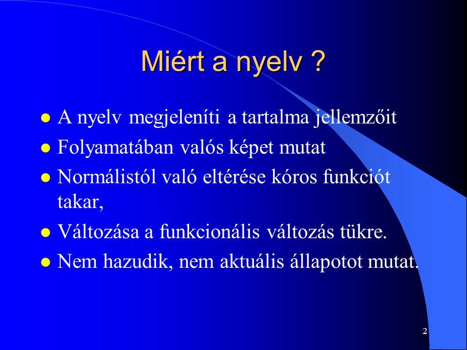 Miért a nyelv A nyelv megjeleníti a tartalma jellemzőit