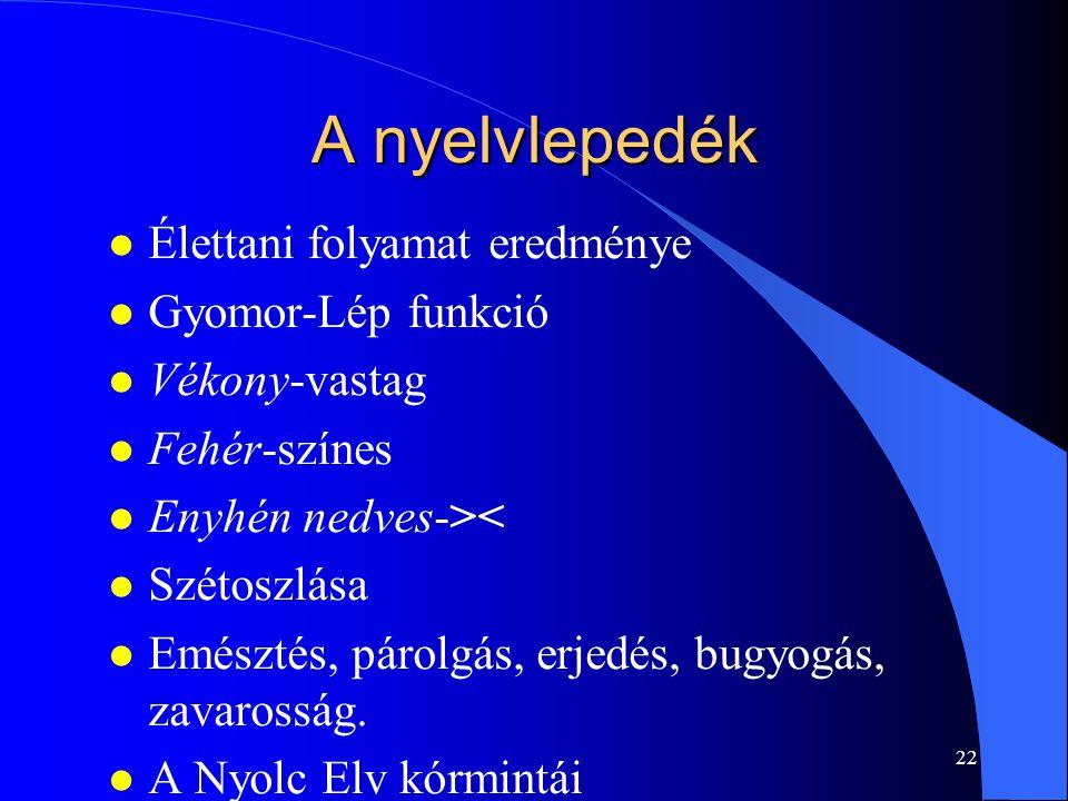 A nyelvlepedék Élettani folyamat eredménye Gyomor-Lép funkció