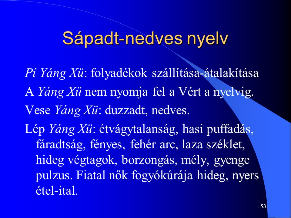 Sápadt-nedves nyelv Pí Yáng Xü: folyadékok szállítása-átalakítása
