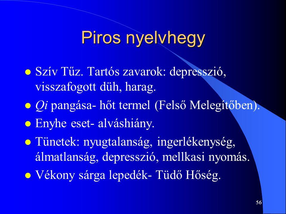 Piros nyelvhegy Szív Tűz. Tartós zavarok: depresszió, visszafogott düh, harag. Qi pangása- hőt termel (Felső Melegítőben).