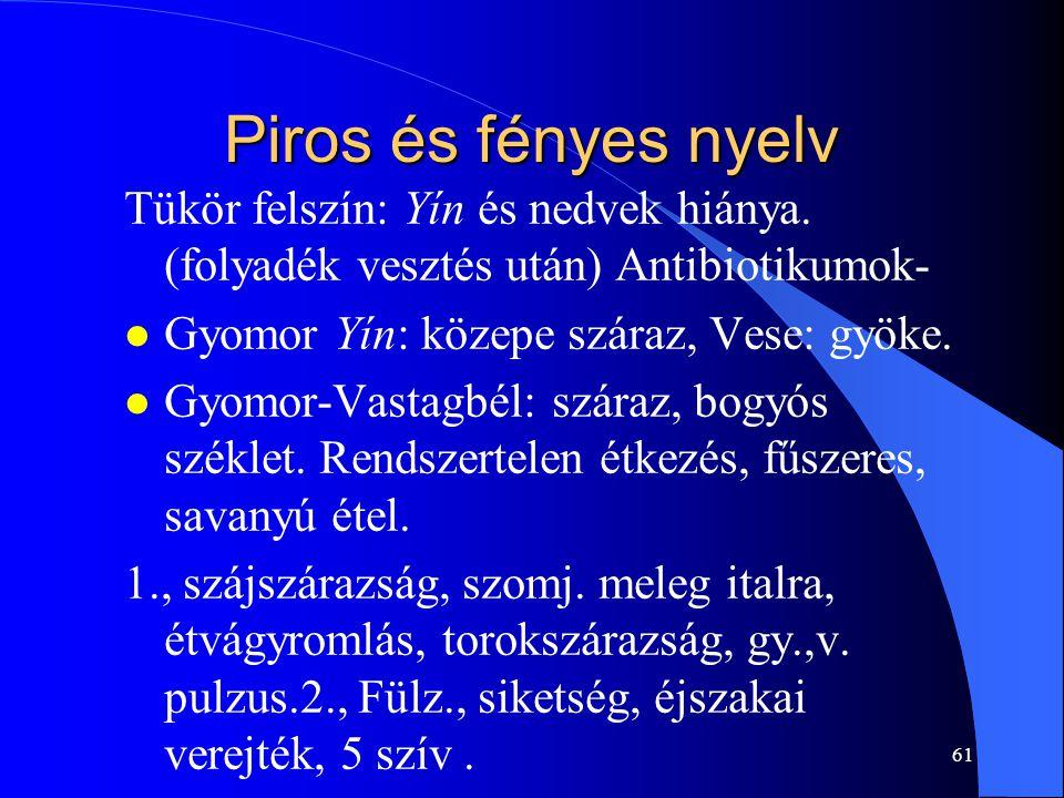 Piros és fényes nyelv Tükör felszín: Yín és nedvek hiánya. (folyadék vesztés után) Antibiotikumok- Gyomor Yín: közepe száraz, Vese: gyöke.