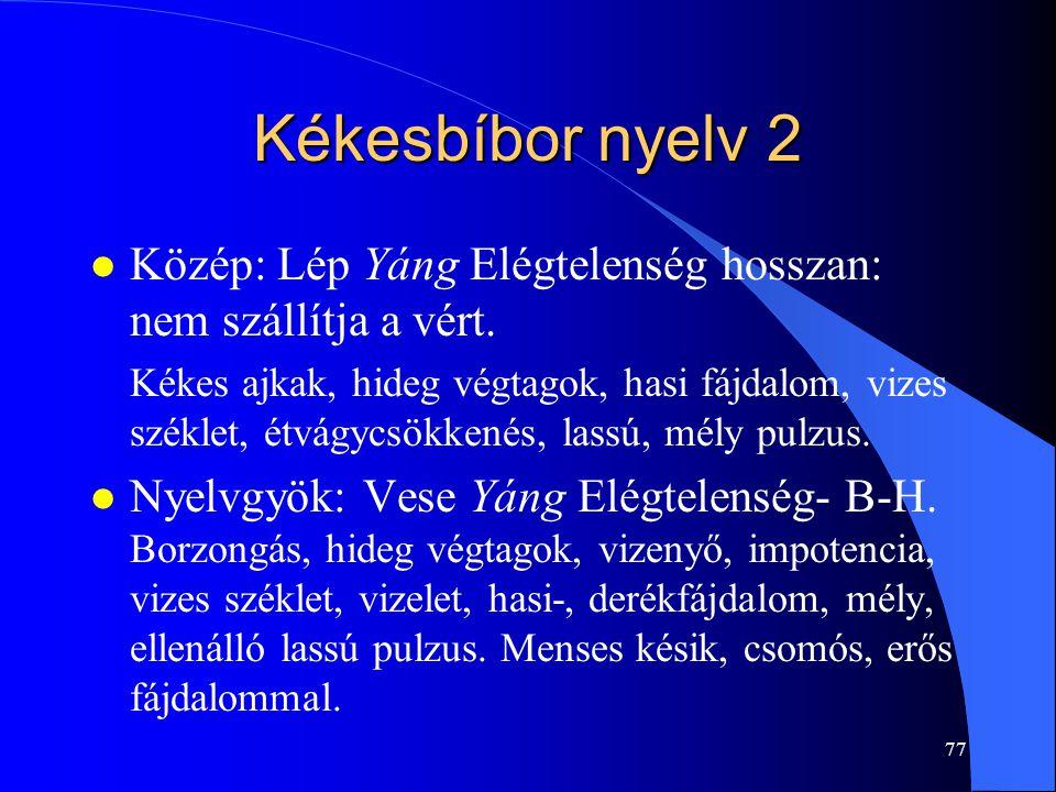Kékesbíbor nyelv 2 Közép: Lép Yáng Elégtelenség hosszan: nem szállítja a vért.