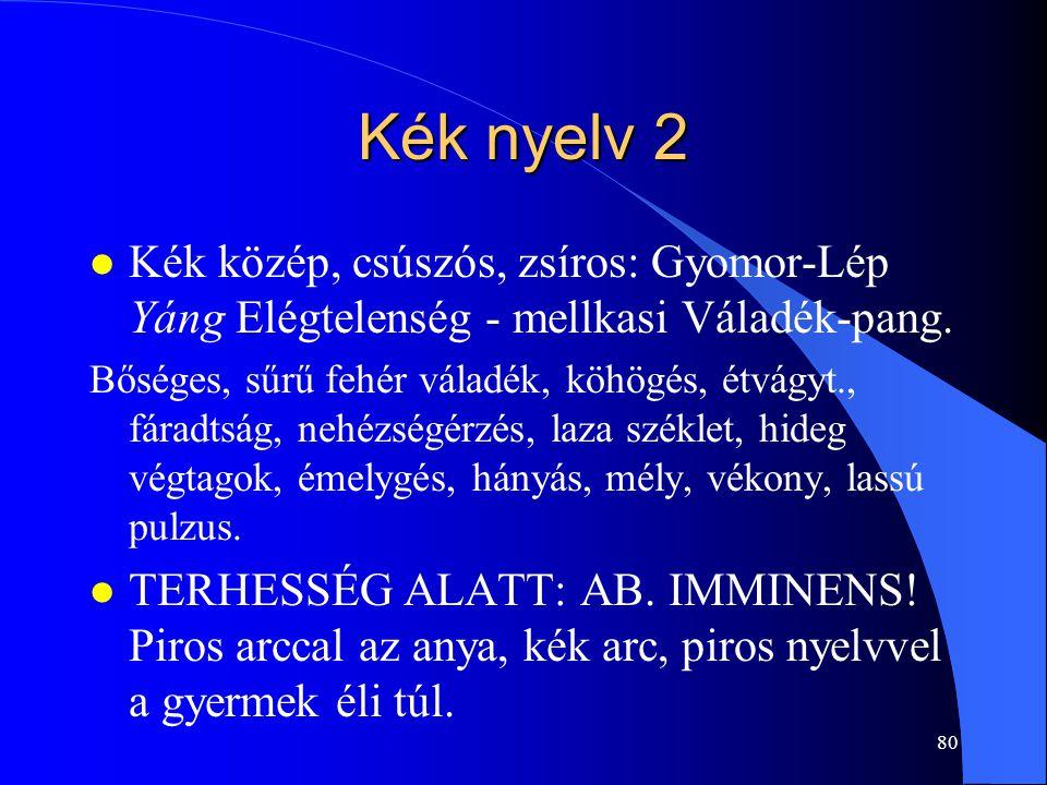 Kék nyelv 2 Kék közép, csúszós, zsíros: Gyomor-Lép Yáng Elégtelenség - mellkasi Váladék-pang.