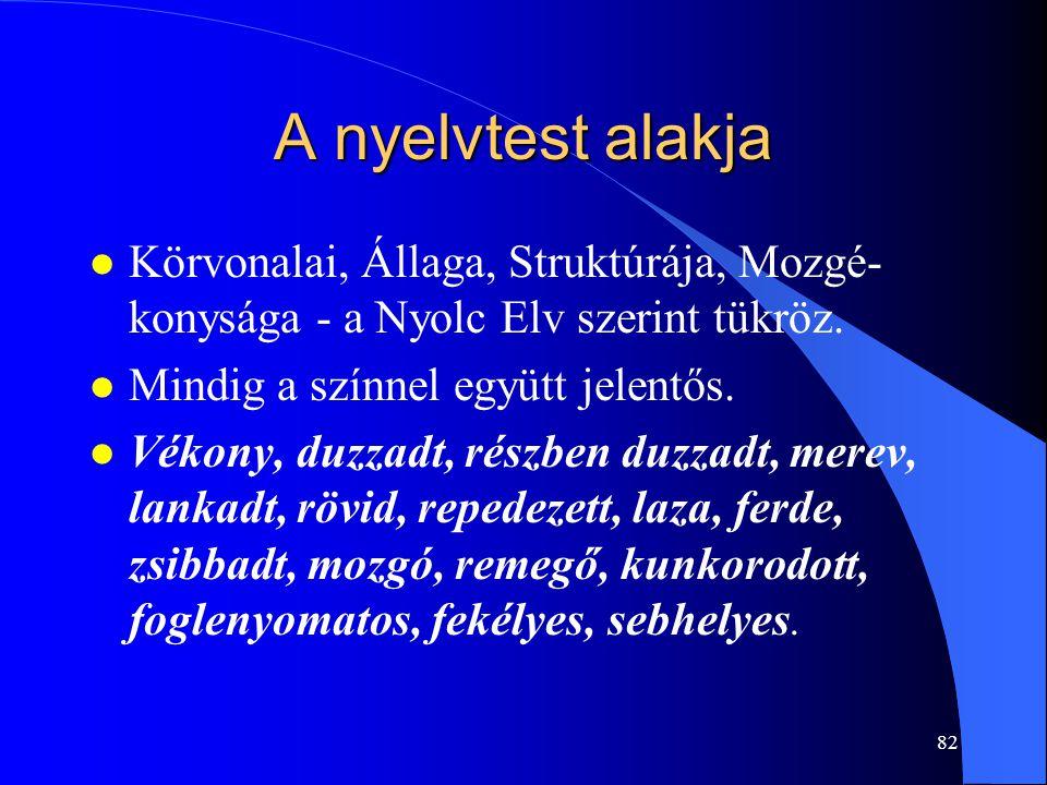 A nyelvtest alakja Körvonalai, Állaga, Struktúrája, Mozgé-konysága - a Nyolc Elv szerint tükröz. Mindig a színnel együtt jelentős.