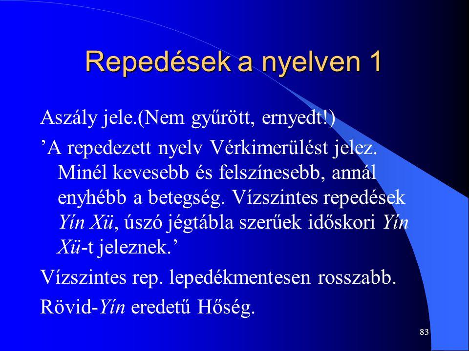 Repedések a nyelven 1 Aszály jele.(Nem gyűrött, ernyedt!)