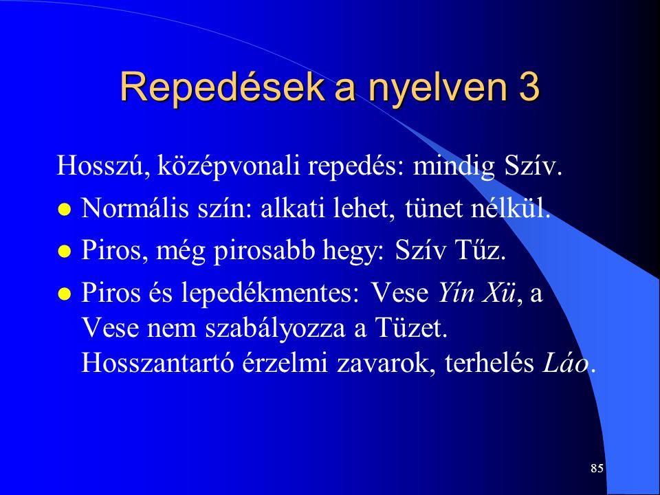 Repedések a nyelven 3 Hosszú, középvonali repedés: mindig Szív.