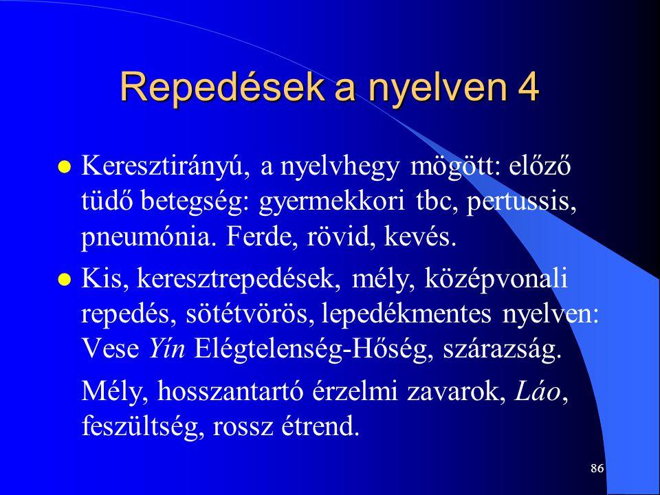 Repedések a nyelven 4 Keresztirányú, a nyelvhegy mögött: előző tüdő betegség: gyermekkori tbc, pertussis, pneumónia. Ferde, rövid, kevés.