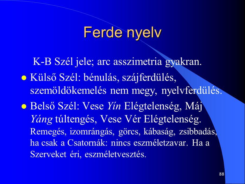 Ferde nyelv K-B Szél jele; arc asszimetria gyakran.
