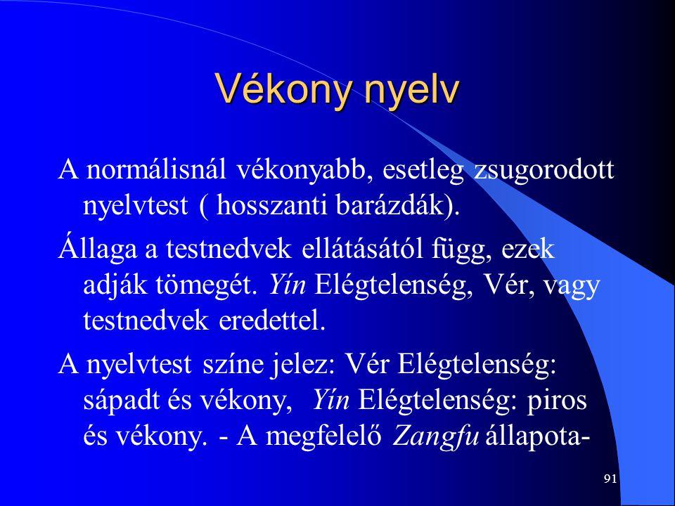 Vékony nyelv A normálisnál vékonyabb, esetleg zsugorodott nyelvtest ( hosszanti barázdák).