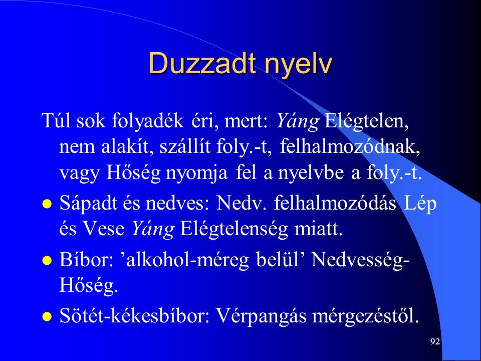 Duzzadt nyelv Túl sok folyadék éri, mert: Yáng Elégtelen, nem alakít, szállít foly.-t, felhalmozódnak, vagy Hőség nyomja fel a nyelvbe a foly.-t.