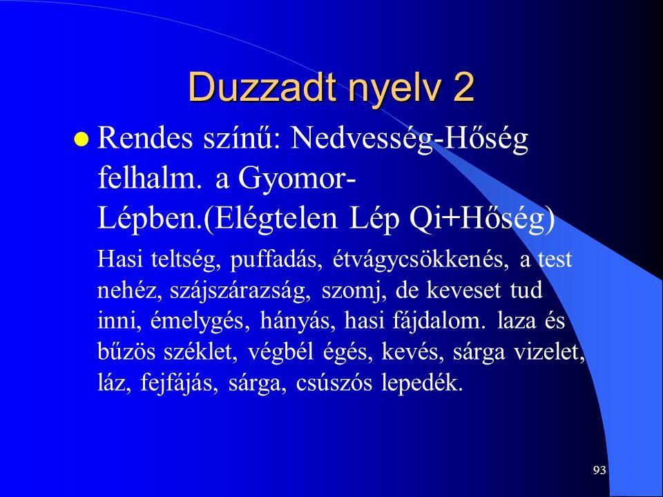 Duzzadt nyelv 2 Rendes színű: Nedvesség-Hőség felhalm. a Gyomor-Lépben.(Elégtelen Lép Qi+Hőség)