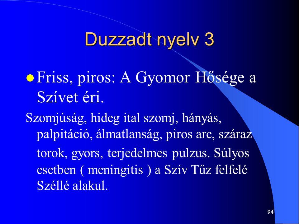 Duzzadt nyelv 3 Friss, piros: A Gyomor Hősége a Szívet éri.