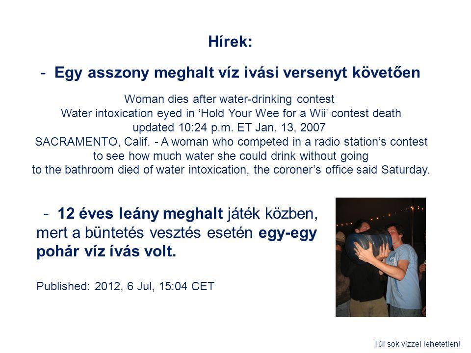 - Egy asszony meghalt víz ivási versenyt követően