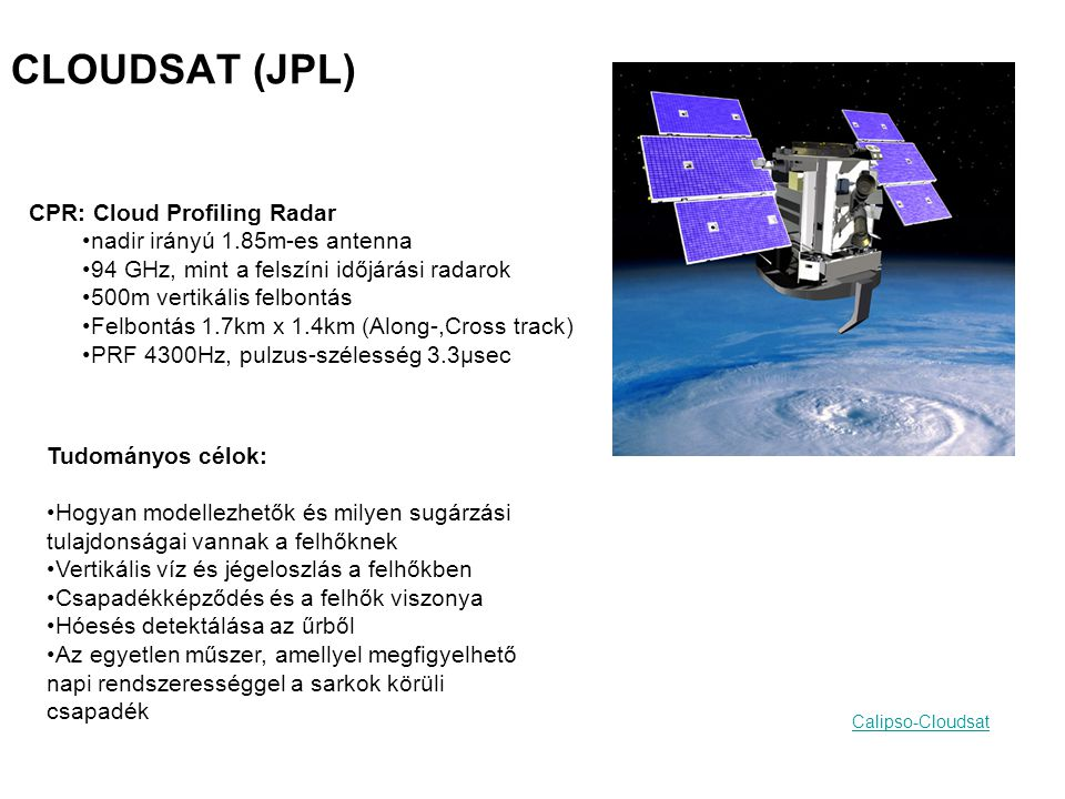 CLOUDSAT (JPL) CPR: Cloud Profiling Radar