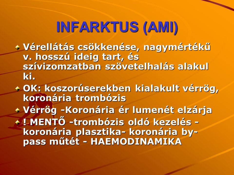 INFARKTUS (AMI) Vérellátás csökkenése, nagymértékű v. hosszú ideig tart, és szívizomzatban szövetelhalás alakul ki.