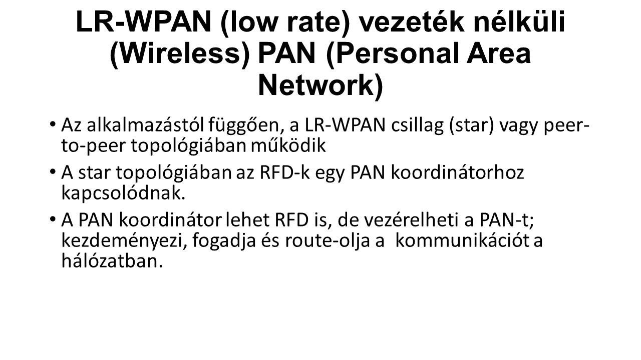 LR-WPAN (low rate) vezeték nélküli (Wireless) PAN (Personal Area Network)