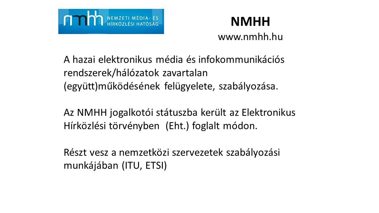 NMHH www.nmhh.hu. A hazai elektronikus média és infokommunikációs rendszerek/hálózatok zavartalan (együtt)működésének felügyelete, szabályozása.