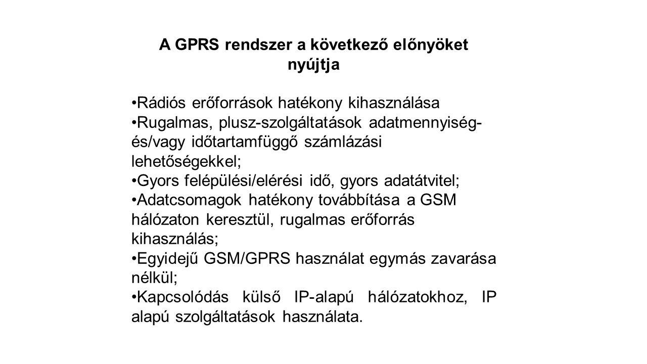 A GPRS rendszer a következő előnyöket nyújtja