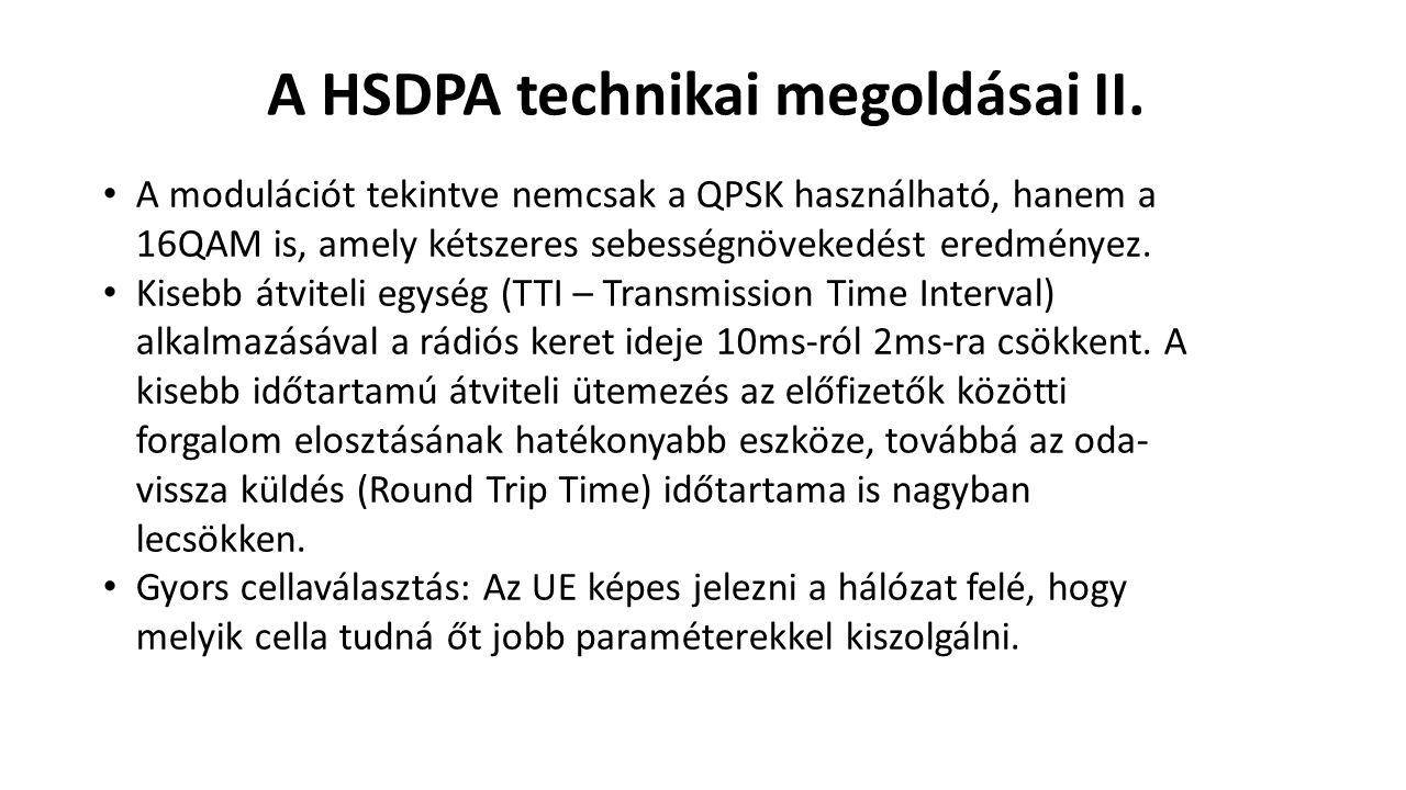 A HSDPA technikai megoldásai II.