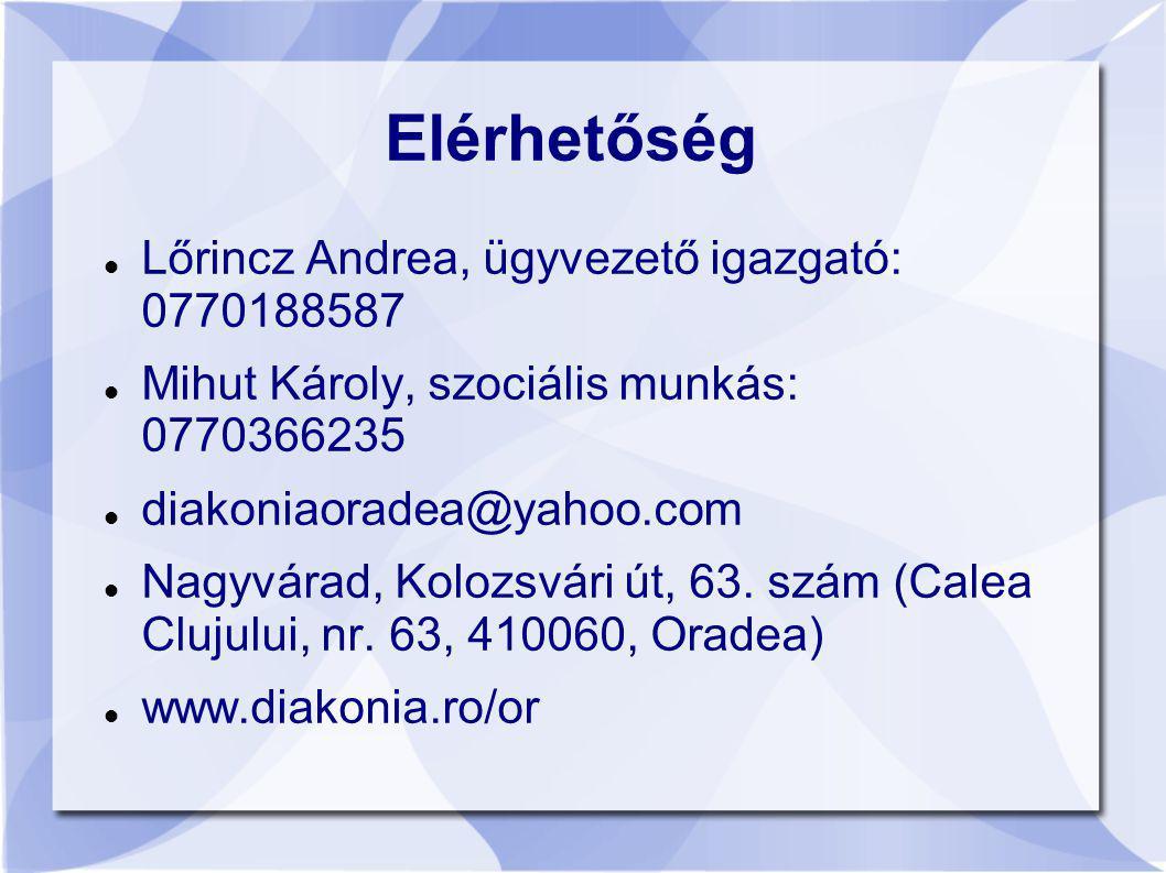 Elérhetőség Lőrincz Andrea, ügyvezető igazgató: 0770188587