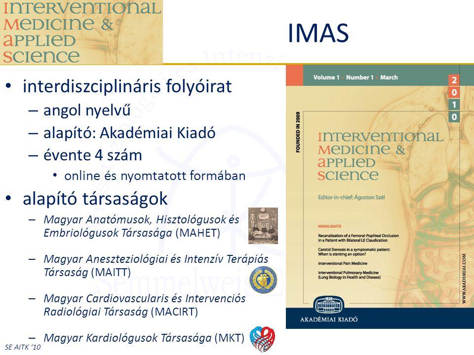 IMAS interdiszciplináris folyóirat alapító társaságok angol nyelvű