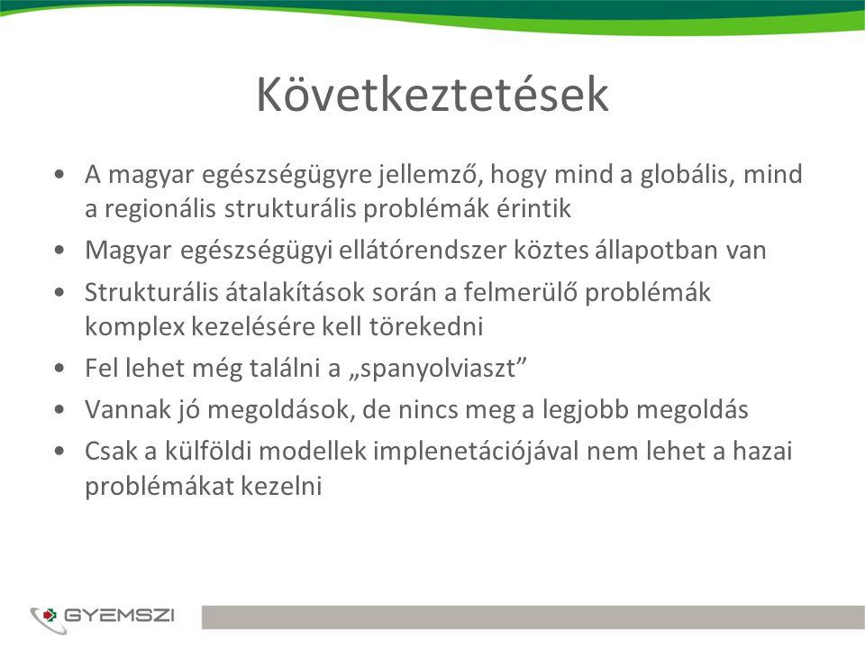 Következtetések A magyar egészségügyre jellemző, hogy mind a globális, mind a regionális strukturális problémák érintik.