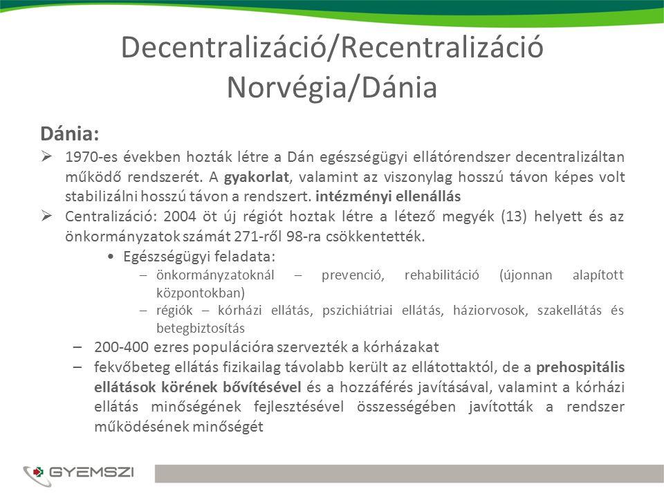 Decentralizáció/Recentralizáció Norvégia/Dánia