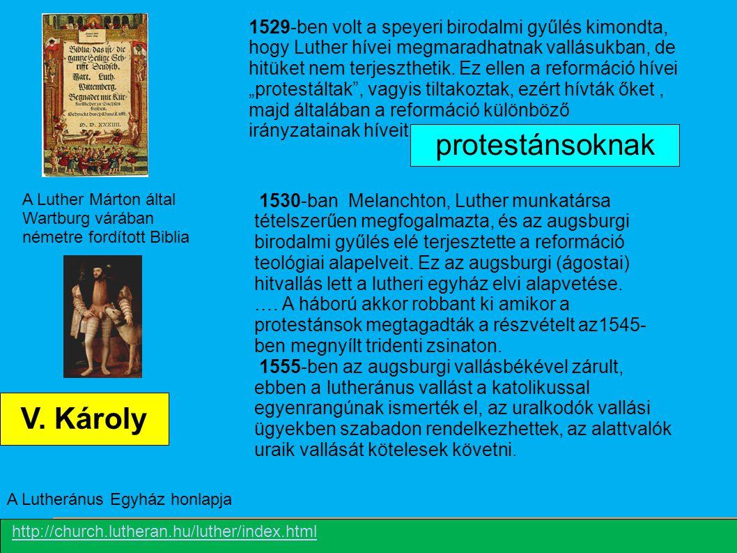 protestánsoknak V. Károly