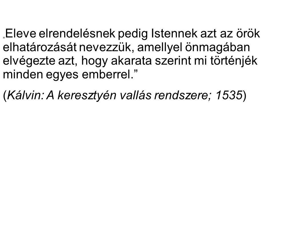 (Kálvin: A keresztyén vallás rendszere; 1535)