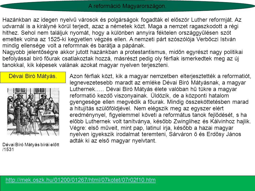 A reformáció Magyarországon.